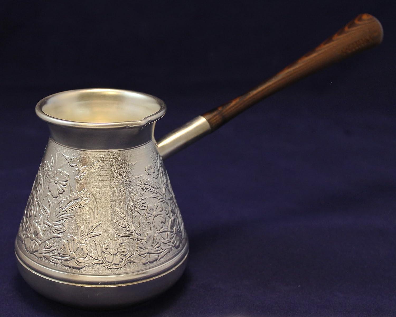 Plateado estilo turco cafetera Pot. 380 ml (13 oz).: Amazon.es: Jardín
