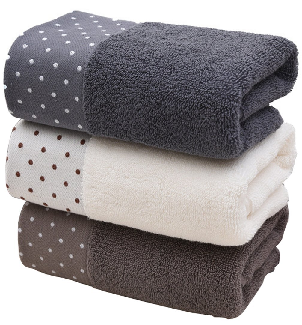 Anlye Cotton Hand Bath Towel Set-(3-Pack,14 x 30 inches) Multipurpose Use Towel Bath for Bath, Hand, Face, Gym and Spa (dot)