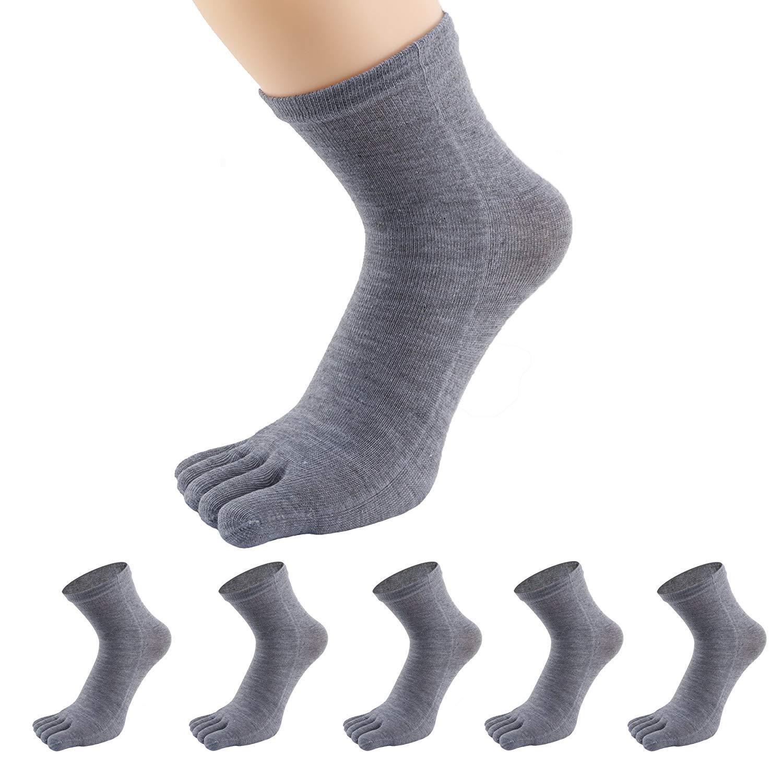 Five Finger Socks PACKGOUT Toe Socks Soft Breathable Running Crew Socks for Mens 5 Pairs Socks Included