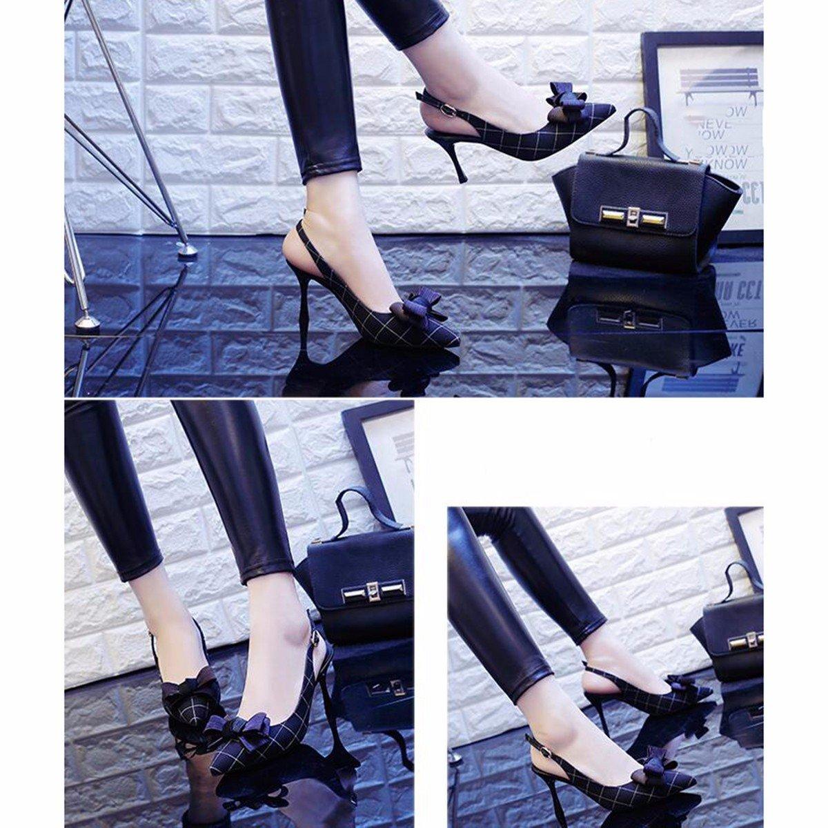 JRFBA-Schuhe Sommer Hochhackigen Schuhe Sagte mit Dünnen und Sharp Sagte Schuhe Bogen Verbunden mit Sandalen und Damenschuhe. schwarz afca1c