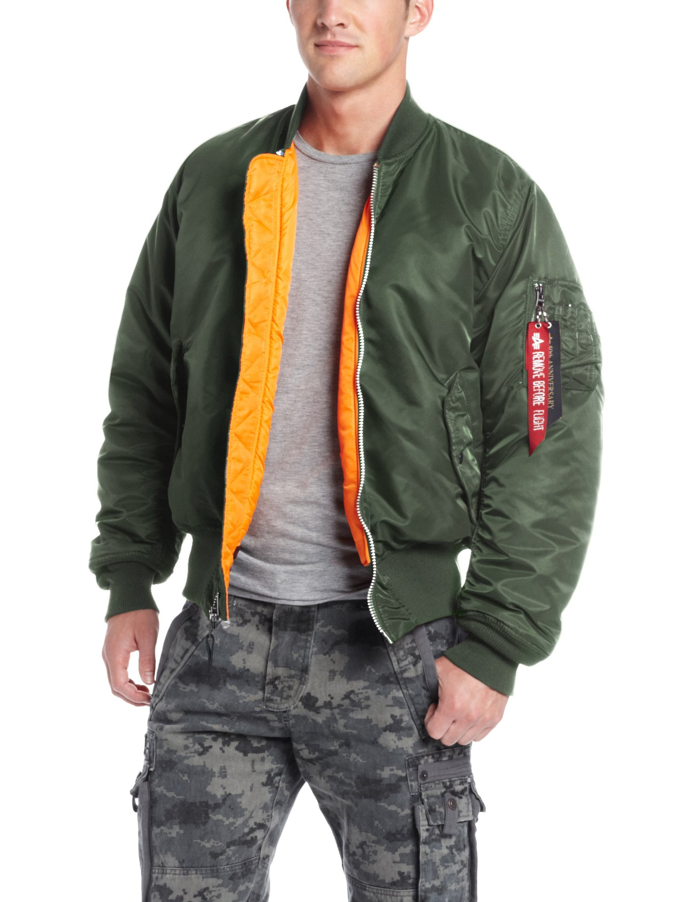 Alpha Industries Men's MA-1 Flight Bomber Jacket, Sage Green, Small