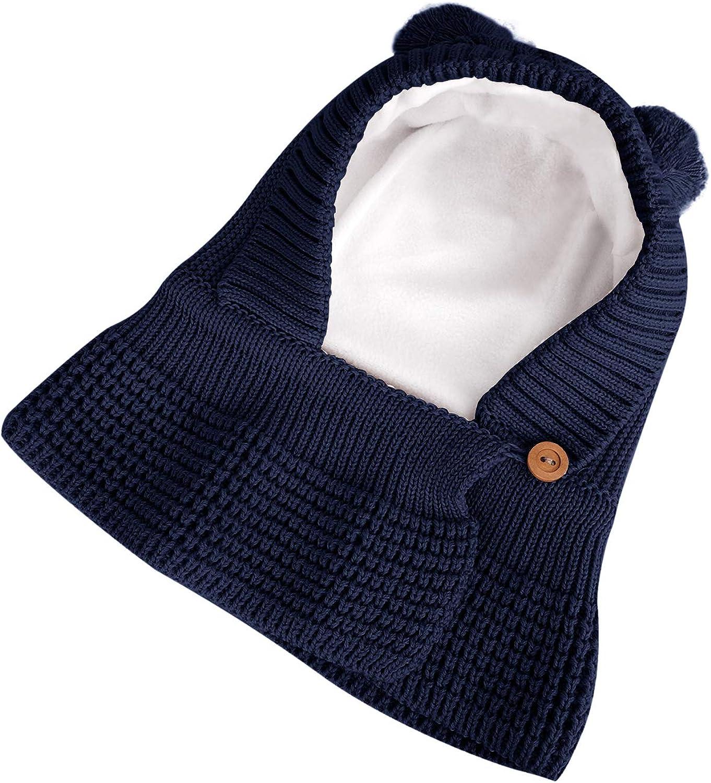 Miagon 2pc Bonnet Tour de Cou Mignon Hiver B/éb/é Enfants Cagoule Chaud Casquette Echarpe Capuche Chapeaux 0-3 Ans