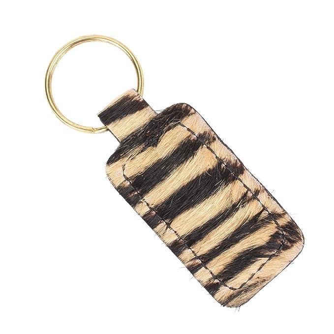 Furry Animal Print Keychain Genuine Leather (Cheetah Print ...