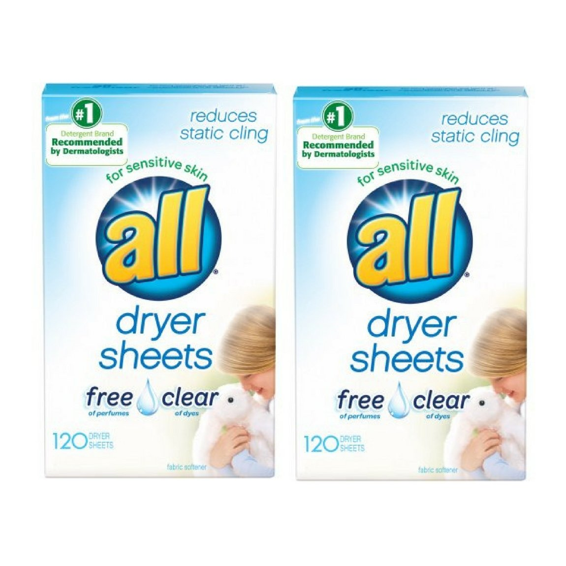 all Fabric Softener Dryer Sheets for Sensitive Skin, Free Clear, 120 Count - 2 Packs