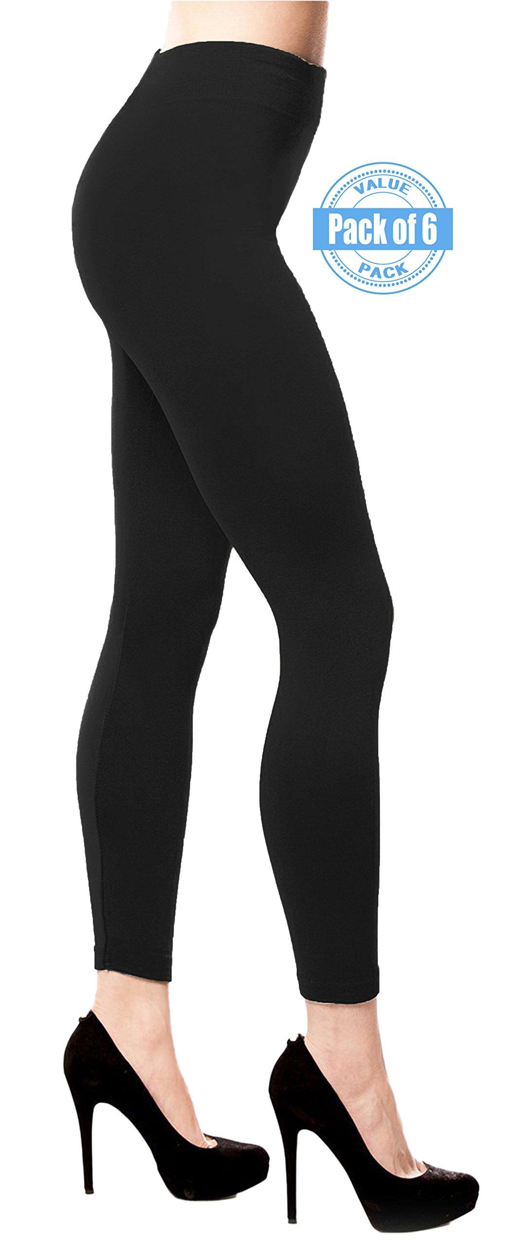 Best Brand Basics Women's 6 Pack Soft Spandex Fleece Lined Warm Long Leggings - Pack of 6 (S/M ( 5-6 ), 6 Pack - Black) by Best Brand Basics (Image #1)