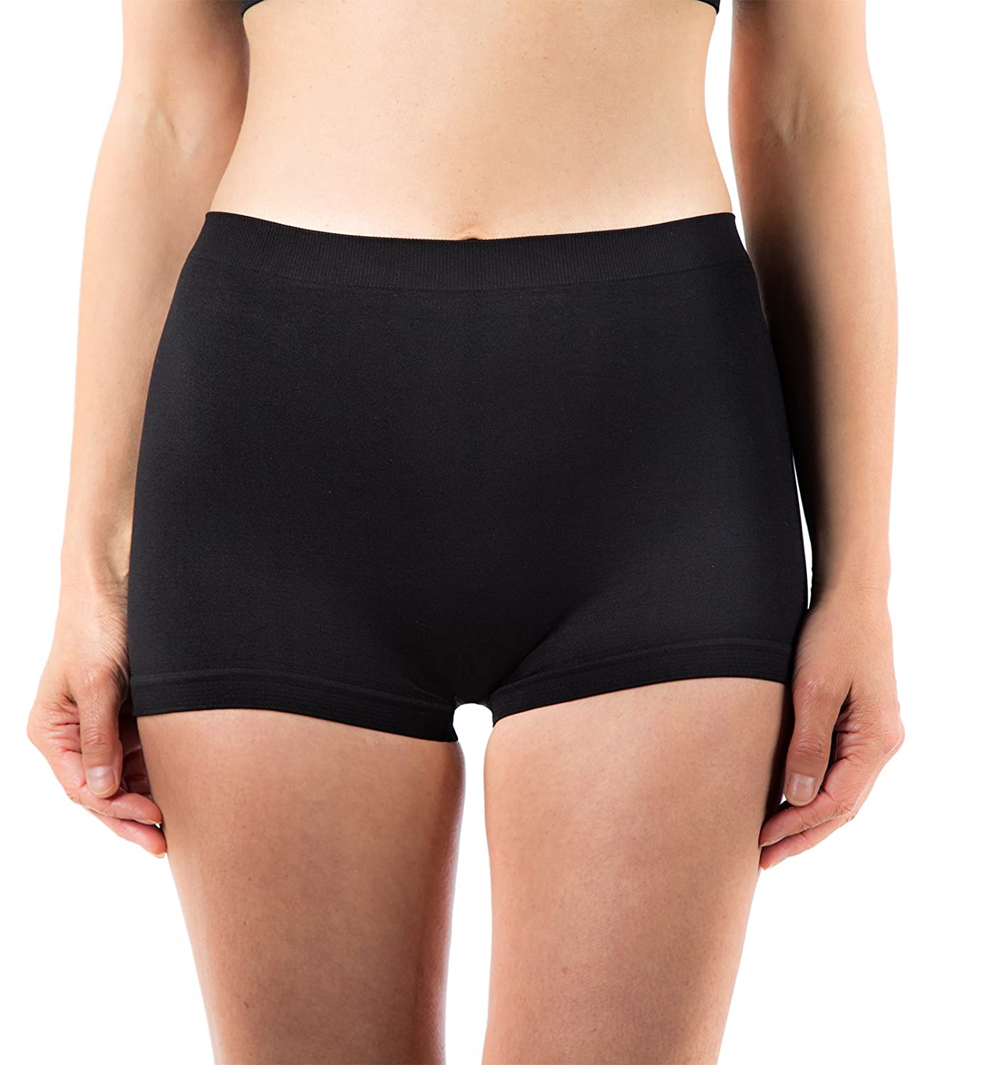 3 x Ladies Black High Waisted Microfibre Boxershorts/Boyshorts Womens Briefs Underwear L2001