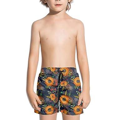 3990c909a1 rtyerhjhnbnc Pattern Sunflowers Wild Flowers Kid's Running Beach Swim Solid  Shorts
