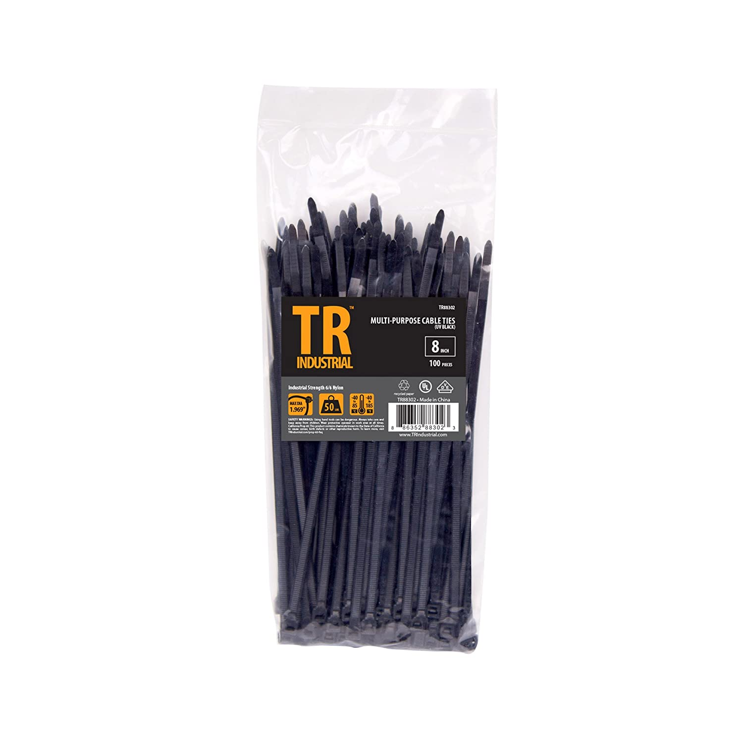 TR Industrial TR88302 Multi-Purpose Cable Tie (100 Piece), 8', Black