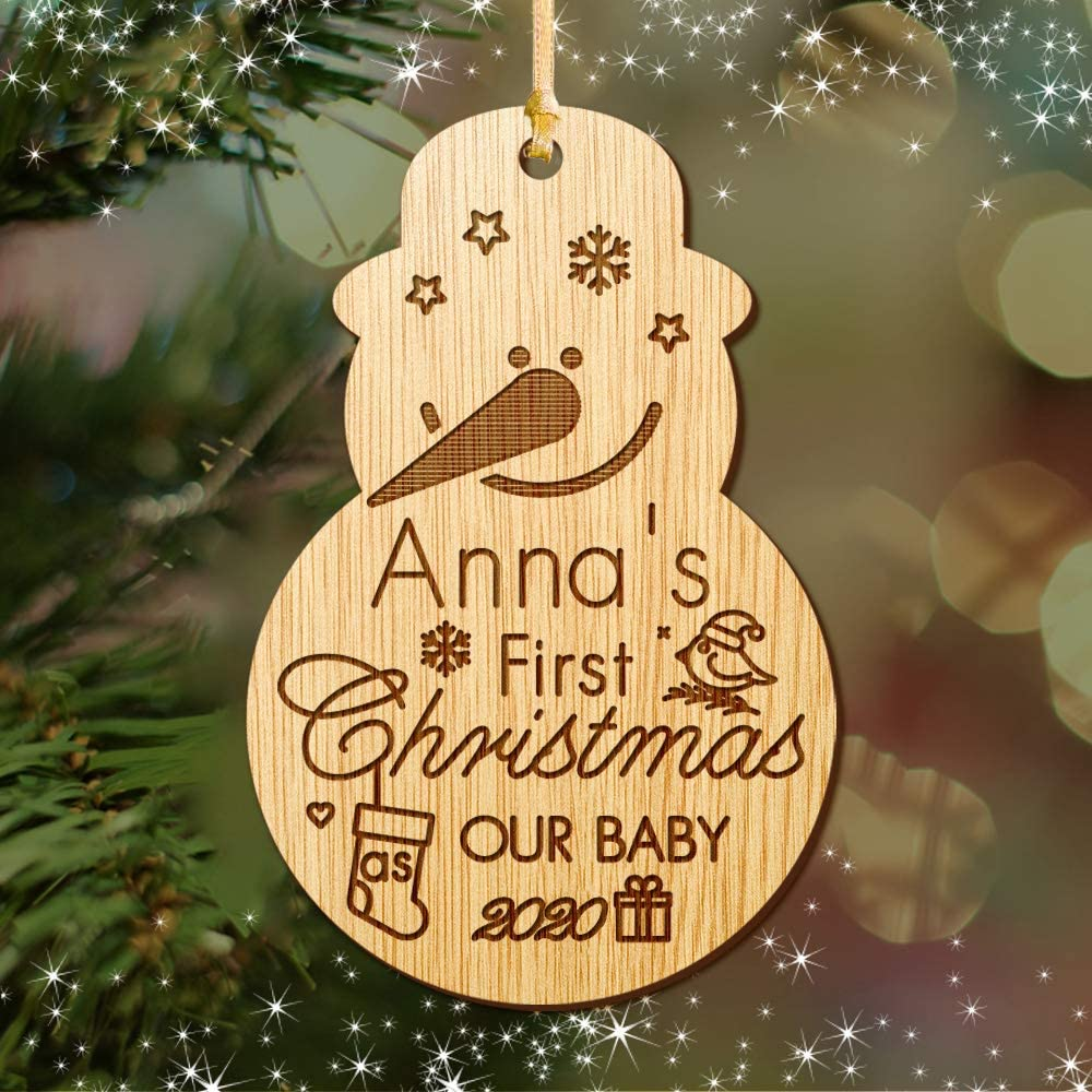 Santa Gift Engraved Wooden Christmas Tree Ornament Hand Finished in UK EDSG Personalised Babys 1st Christmas Tree Bauble Customized Christmas Decoration First Xmas Gift for New Baby