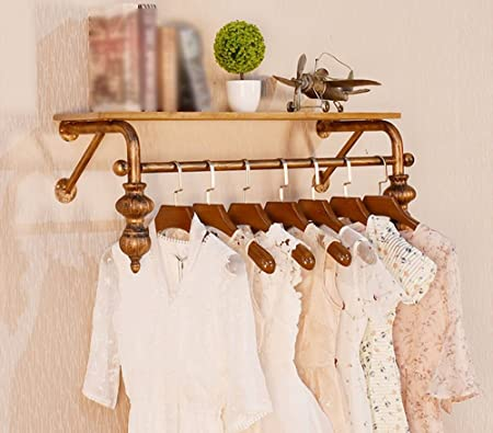 45fbd6886 Coat Hooks-MEHE MEHE@ Creative fashion Retro clothes rack, wall hangers on  the wall, clothing store display, wall mounted men and women (Size : 90cm):  ...