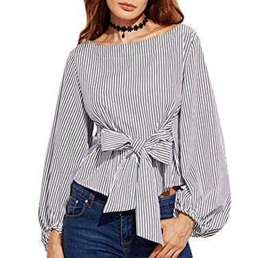 7764666ae3845 Lesimsam Women s Plus Size Gril Striped Off Shoulder Bowknot Blouses Ruffle Puff  Sleeve Blouse Tops (