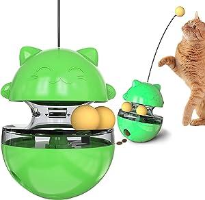 Interactive cat Toys, cat Toys, cat Supplies, Interesting Tumbler Food Dispenser, Improve IQ, Slow Feeder, Bring 2 Rolling Balls, Puzzle Mental Exercise Supplies (Green)
