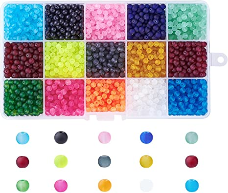 Kissitty About 420pcs//box 15 Color Transparent Frosted Glass Round Beads Set 8mm