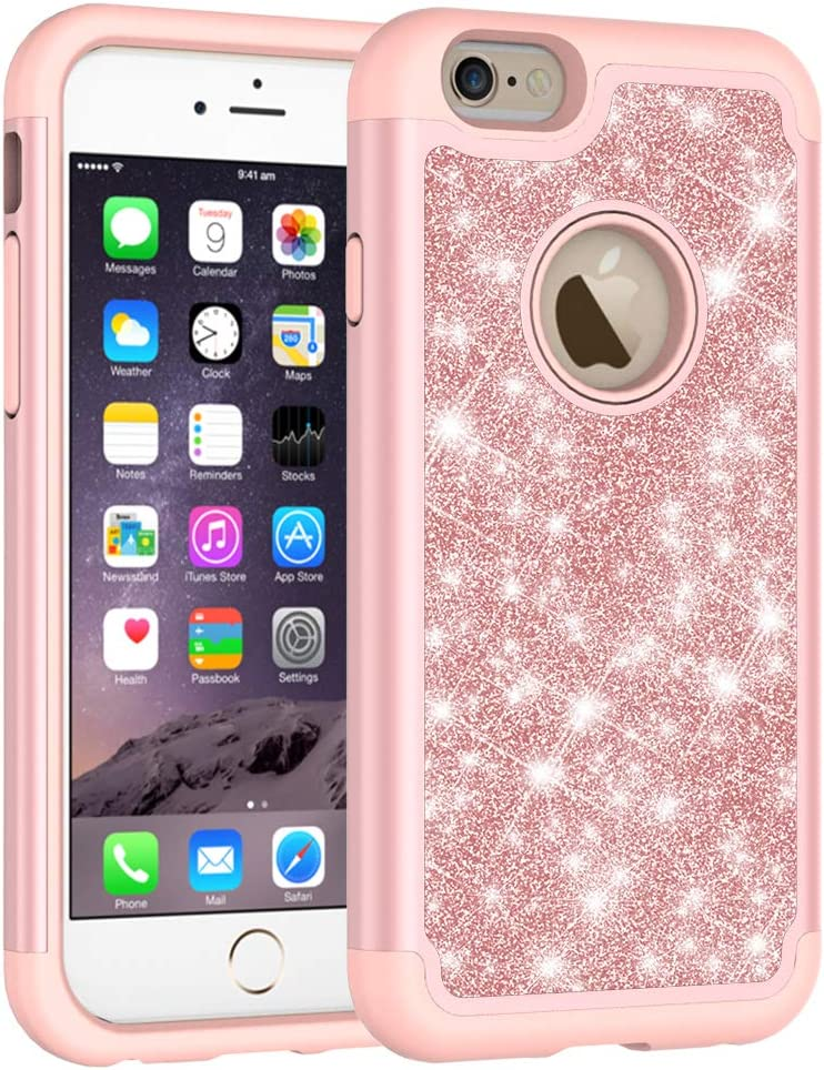Iphone 6s Case, Iphone 6 phone Case, Cute Girls Women Design Defender Case Bling Glitter Sparkle Hard Shell Armor Hybrid Shockproof Rubber Bumper Cover for Apple iphone 6s and iphone 6 - Rose Gold