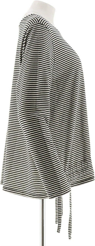 AnyBody Loungewear Cozy Knit Striped Top Drawcord Hem Navy Cream L NEW A349787