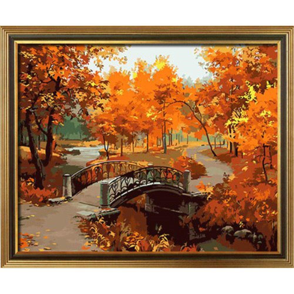 AIHOMETM kit fai-da-te per quadri ad olio a numeri senza cornice per adulti e bambini e principianti Autumn of Bridge motivo finestra con fiori