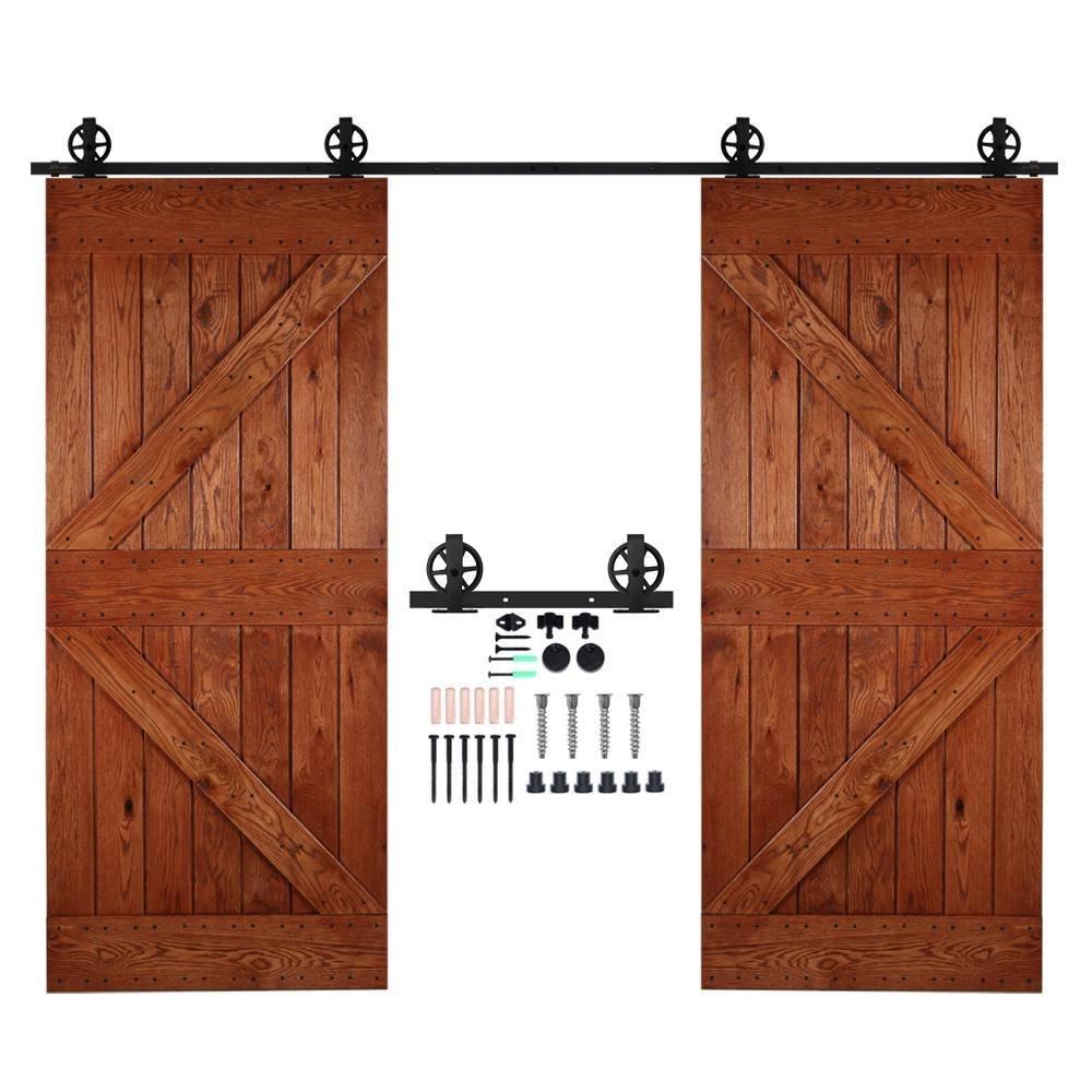 CCJH 6.6FT-200cm Rueda Grande Herraje para Puertas Kit de Accesorios para Puerta Correderas Juego de Armarios de Acero Corredizos para Puertas Corredera Riel Rueda para Puertas de Madera Dobles XHKJ