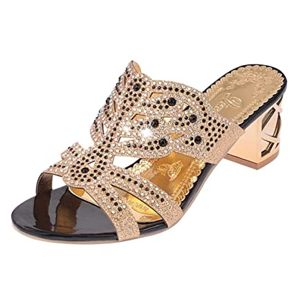 437d6b12300 Amazon.com: SUKEQ Stylish Women Rhinestone Chunky Heel Slide Sandals ...