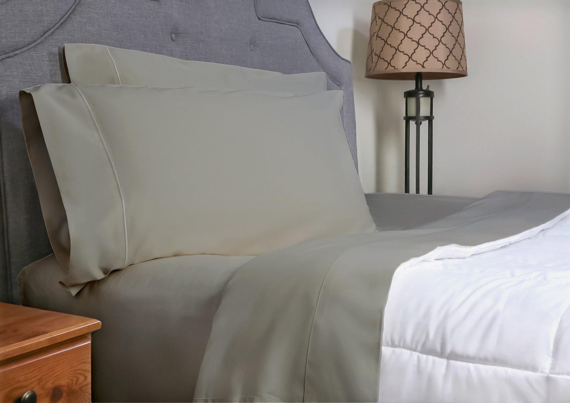 Whisper Organics Bed Sheets, Organic 100% Cotton Sheet Set, 500 Thread Count, 4 Piece: Fitted Sheet, Flat Sheet + 2 Pillowcases (California King, Silver)
