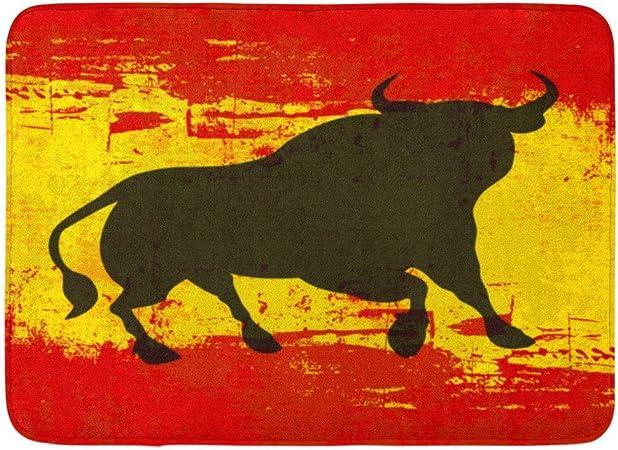Goodshope - Felpudos de baño para interiores y exteriores, diseño de toro español, color rojo, bandera de España, color amarillo: Amazon.es: Hogar