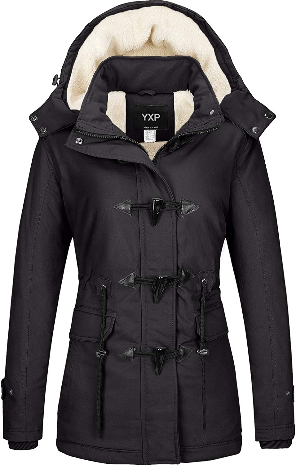 YXP Mens Winter Thicken Cotton Coat Warm Puffer Jacket with Removable Fur Hood