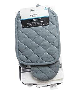Mainstay 5 piece kitchen towel set - Gray