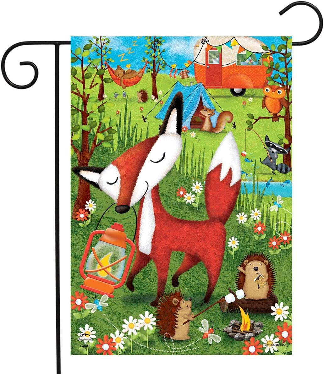 "Briarwood Lane Wilderness Camp Summer Garden Flag Fox Tents Camping 12.5"" x 18"""