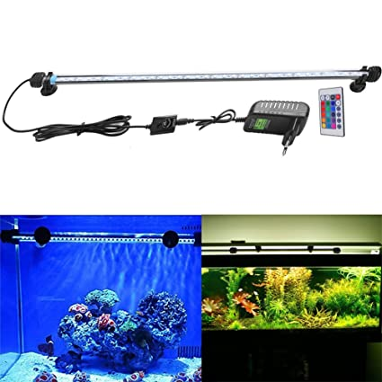 SUBOSI FVTLED Cambia Color Lámpara de Acuario 6.5W 57CM 30 Luces SMD5050 IP68 LED Lampara