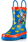 Nintendo Kids Boys` Super Mario Character Printed Waterproof Easy-On Handles Rubber Rain Boots - Toddler/Little Kids