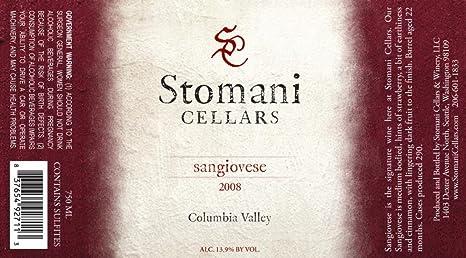 & 2008 Stomani Cellars Sangiovese 750 mL at Amazonu0027s Wine Store