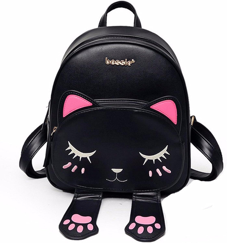 Minetom La Forma Del Gato Mochila Para Mujer Cuero Estilo Retro Universidad Uso Diario Escuela Bolsa de Hombro Mochila de Viaje