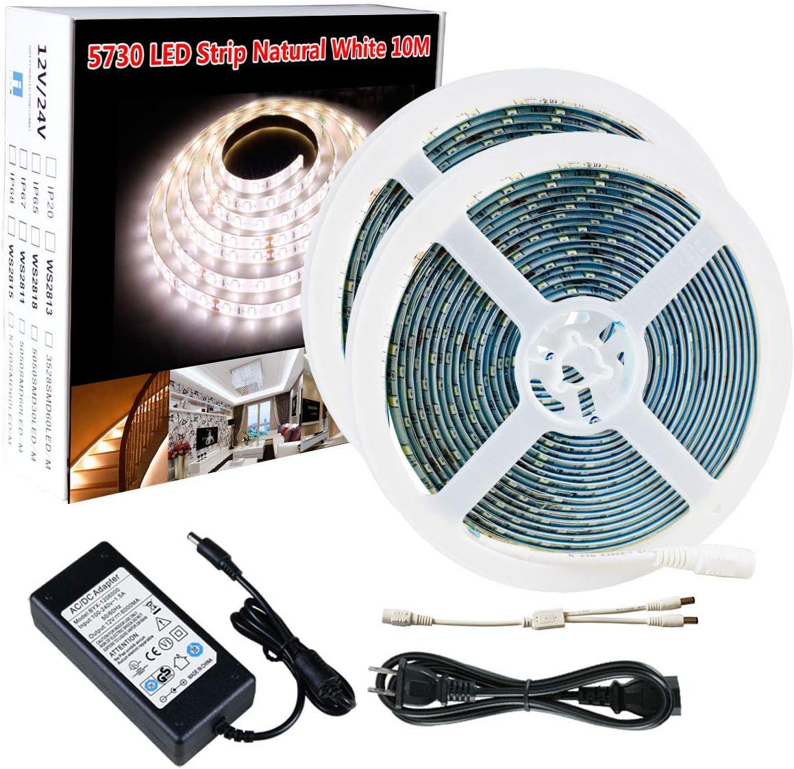 10M 600LED Waterproof 12V Light Strip Dimmer 3528 SMD Cool White Indoor Outdoor
