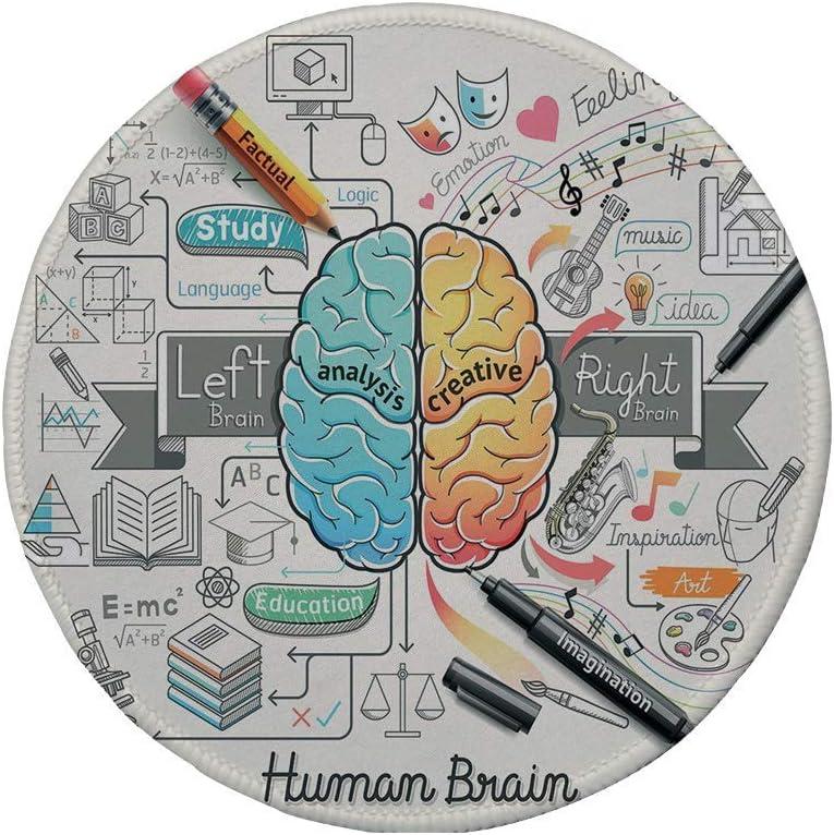 Alfombrilla de ratón Redonda de Goma Antideslizante Doodle Dos Lados del Humano Brian Habilidades educativas de Arte imaginativo analítico Marigold Turquoise Grey 7.9