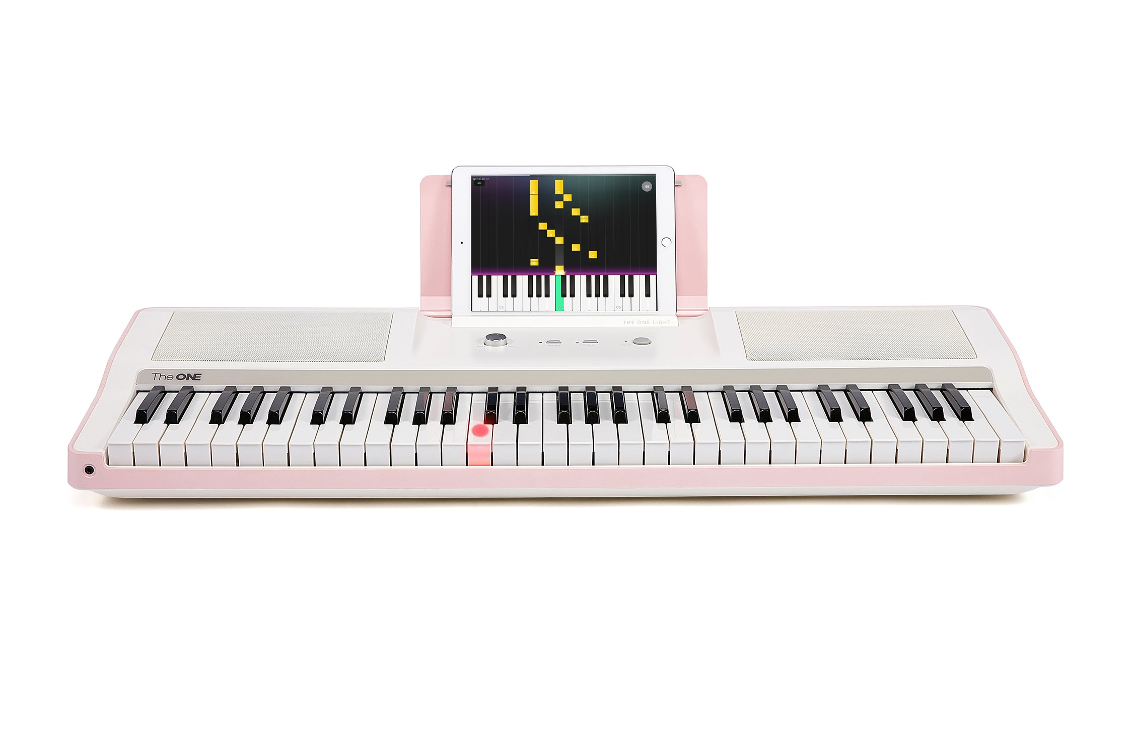 Smart Piano Keyboard 61-Key Portable Light Digital Piano Keyboard,Electronic Keyboard Music LED,Great for Beginner-Kids/Adults Learning/Training (Pink) by The ONE Music Group