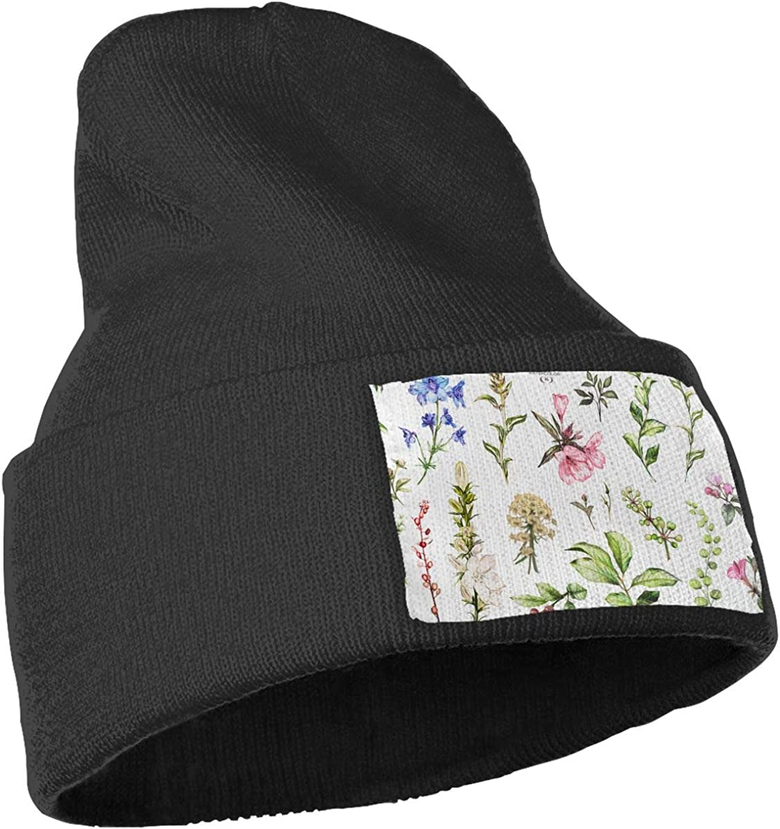 QZqDQ Watercolor Trees and Flowers Unisex Fashion Knitted Hat Luxury Hip-Hop Cap
