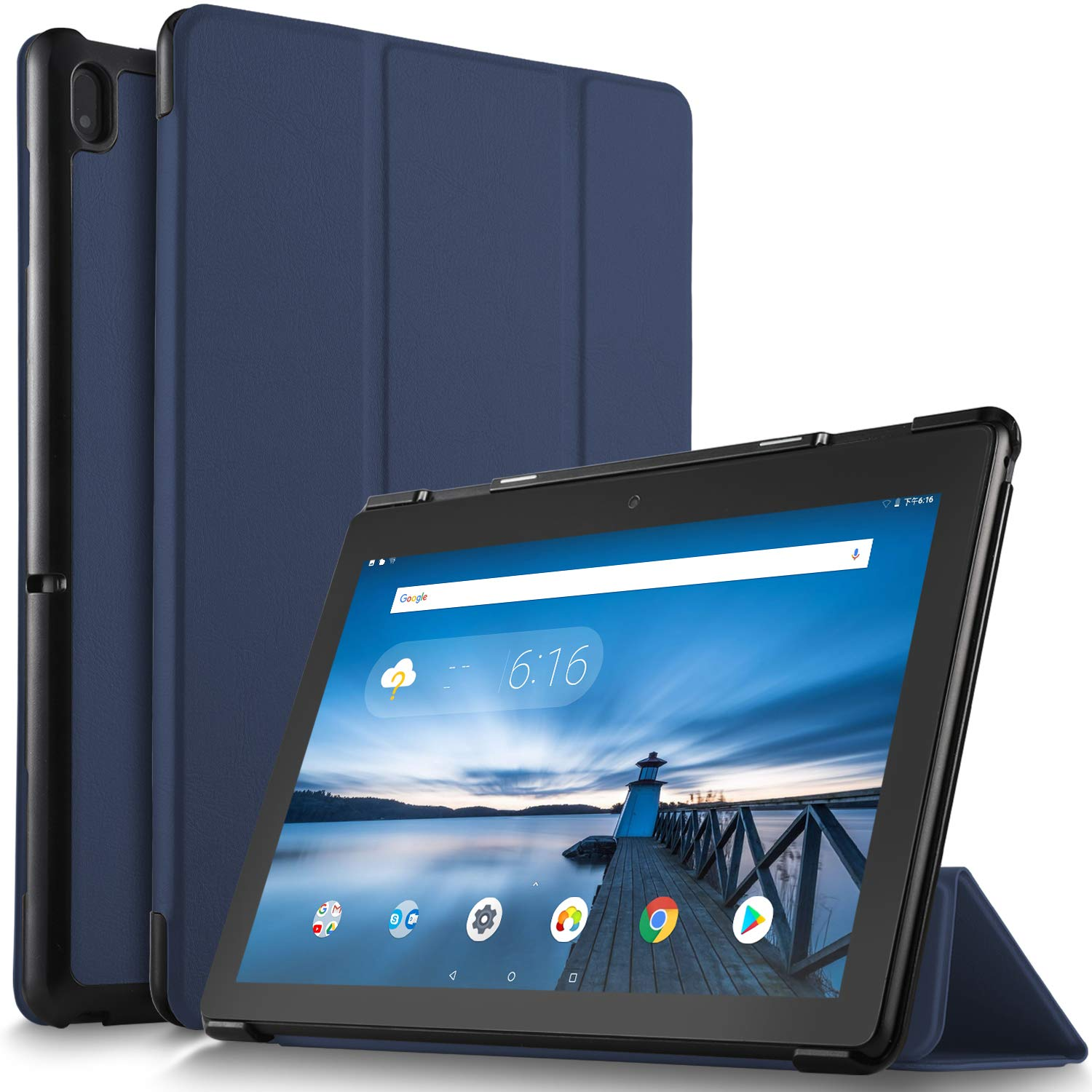 IVSO Case for Lenovo TAB E10, Ultra Lightweight Protective Slim Smart Protective Cover Case Compatible with Lenovo TAB E10 2018 Released Tablet (Blue)