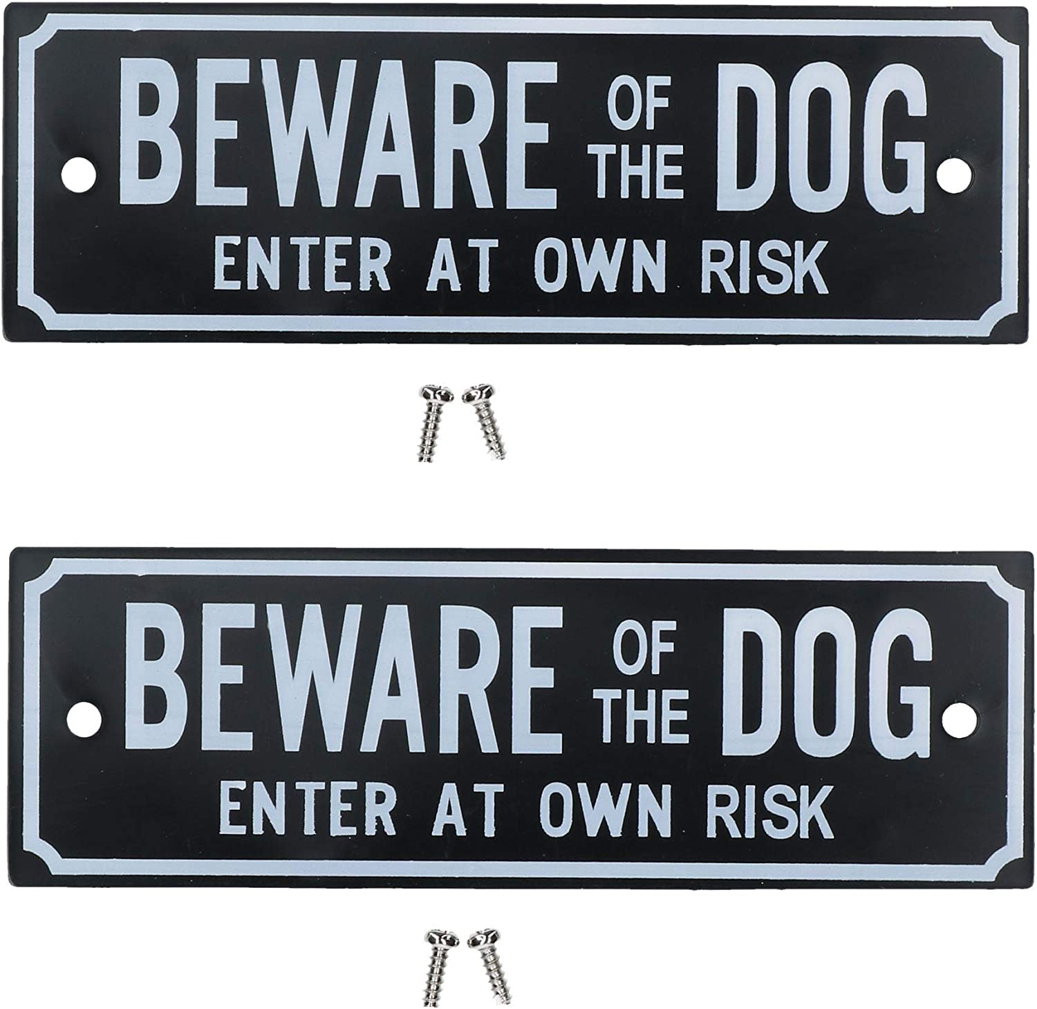 Two Beware Of The Dog Enter At Own Risk Home Gate Dog Warning Sign