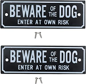 AB Tools Two Beware of The Dog Enter at Own Risk Home Gate Dog Warning Sign
