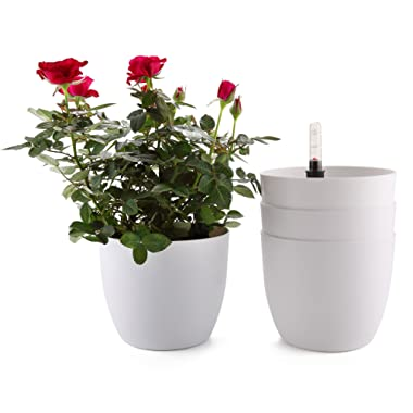 T4U 6 Inch Plastic Self Watering Planter with Water Level Indicator White Set of 4, Modern Decorative Planter Pot for All House Plants, Flowers, Herbs, African Violets, Succulents