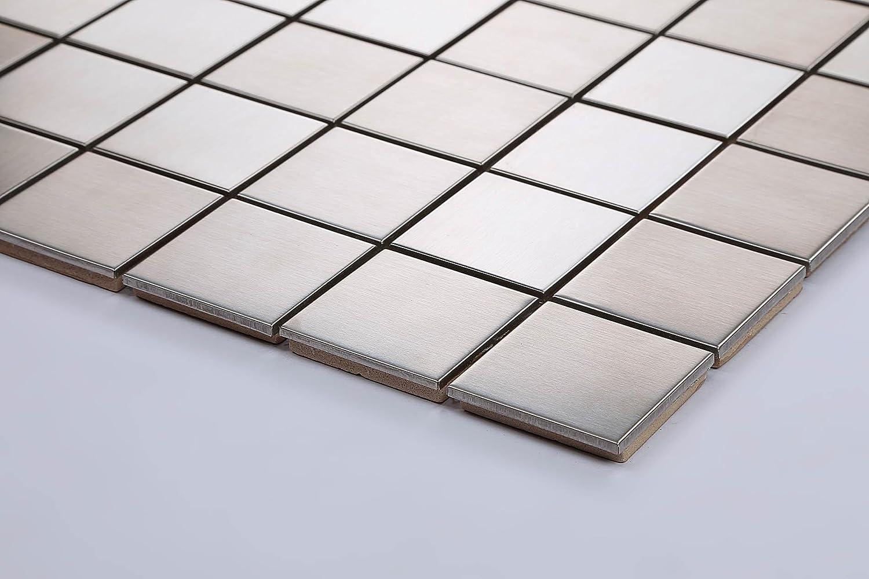 Teppich Relief 1/m Edelstahl Mosaik Fliesen in Silber geb/ürstet MT0035/M2