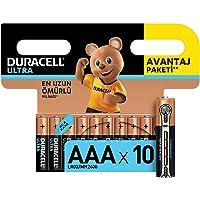 Duracell Ultra Alkalin AAA İnce Kalem Piller, 10'lu paket