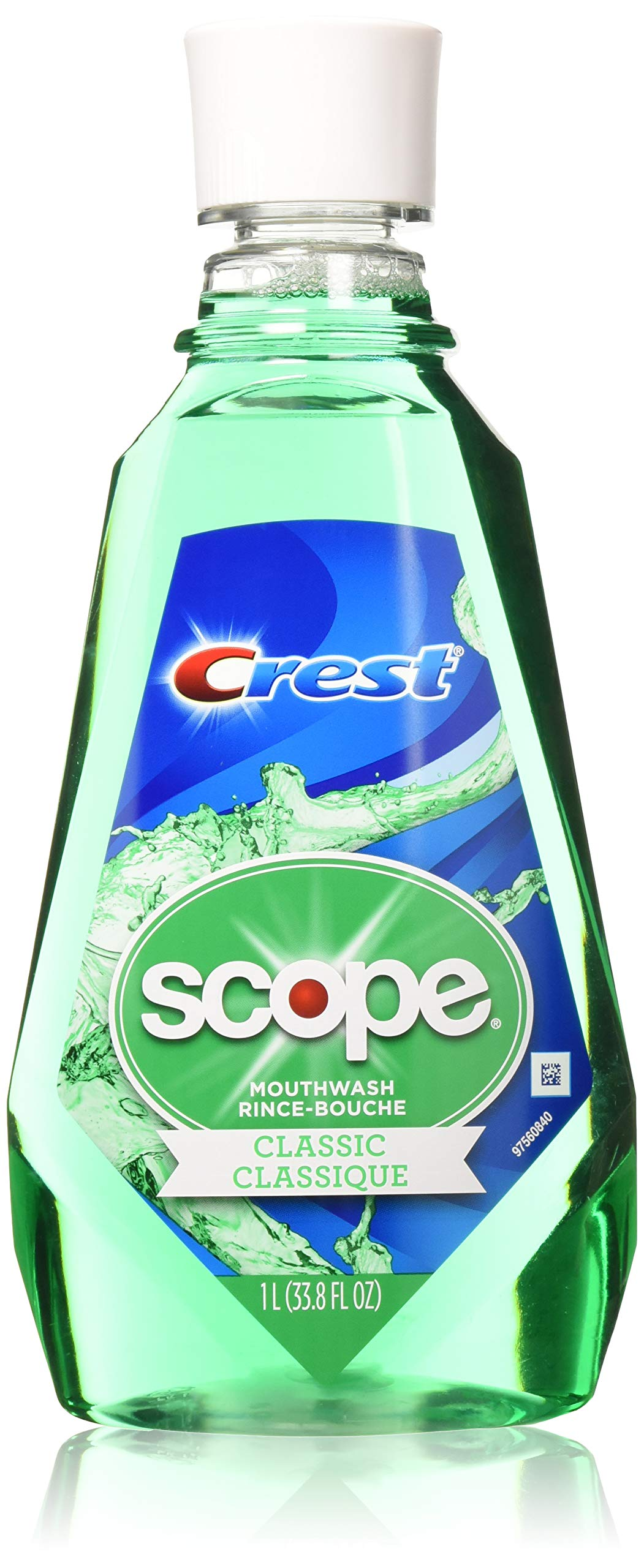 Crest Scope Classic Mouthwash Rince 1 Liter (33.8 oz) - Pack of 2