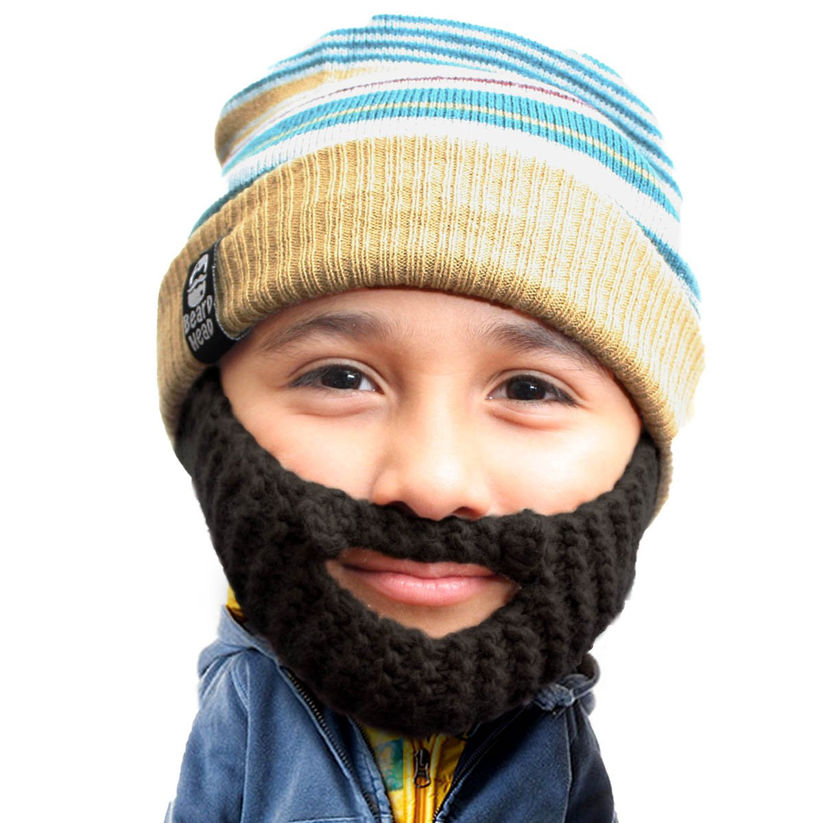 Amazon.com  Beard Head Kid Roro Beard Beanie - Knit Hat and Fake Beard for  Kids and Toddlers Black  Clothing 9743b64b4e6