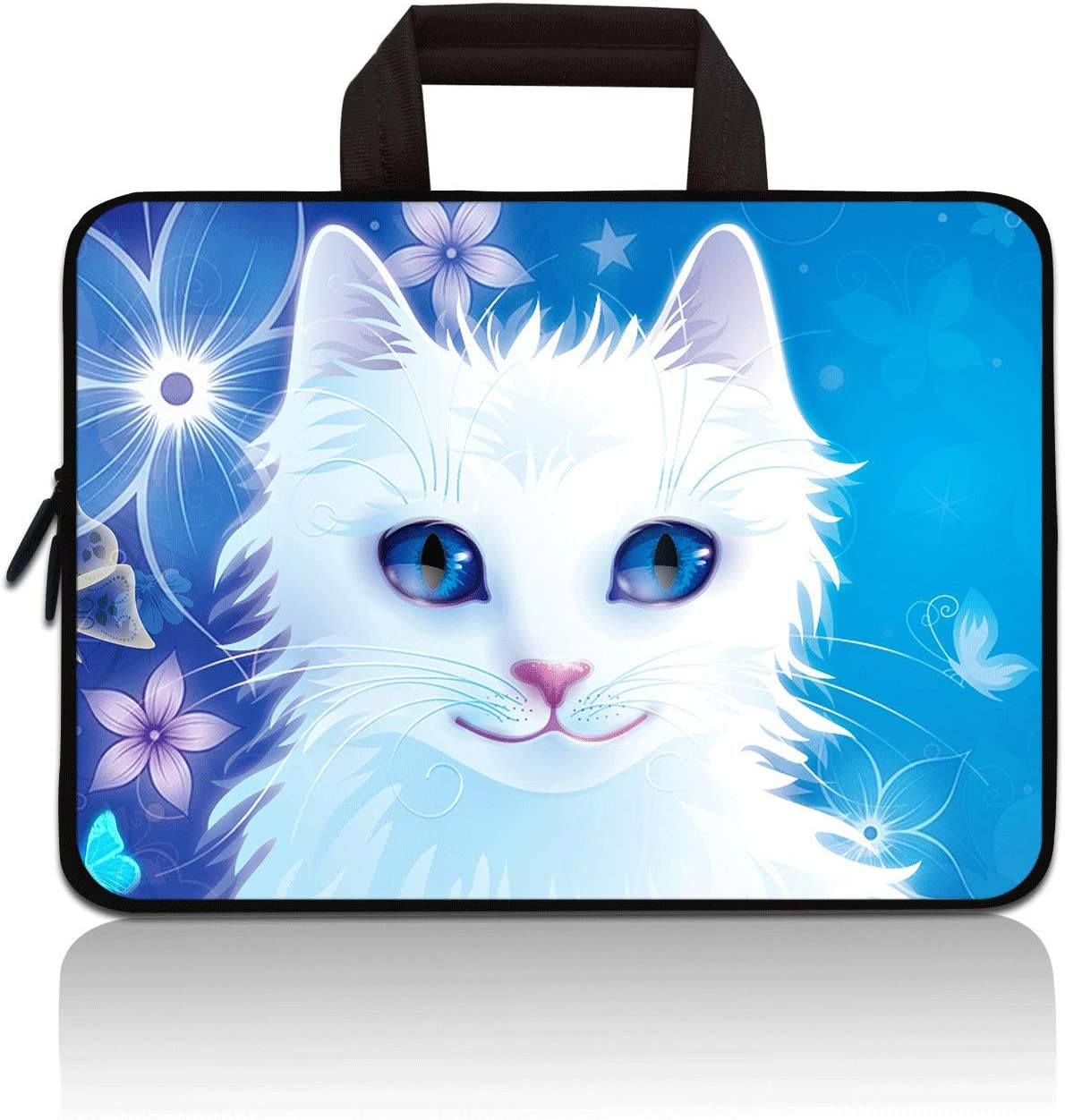 RUYIDAY 11 11.6 12 12.1 12.5 inch Laptop Carrying Bag Chromebook Case Notebook Ultrabook Bag Tablet Cover Neoprene Sleeve Fit Apple MacBook Air Samsung Acer HP DELL Lenovo Asus (Cute Cat)