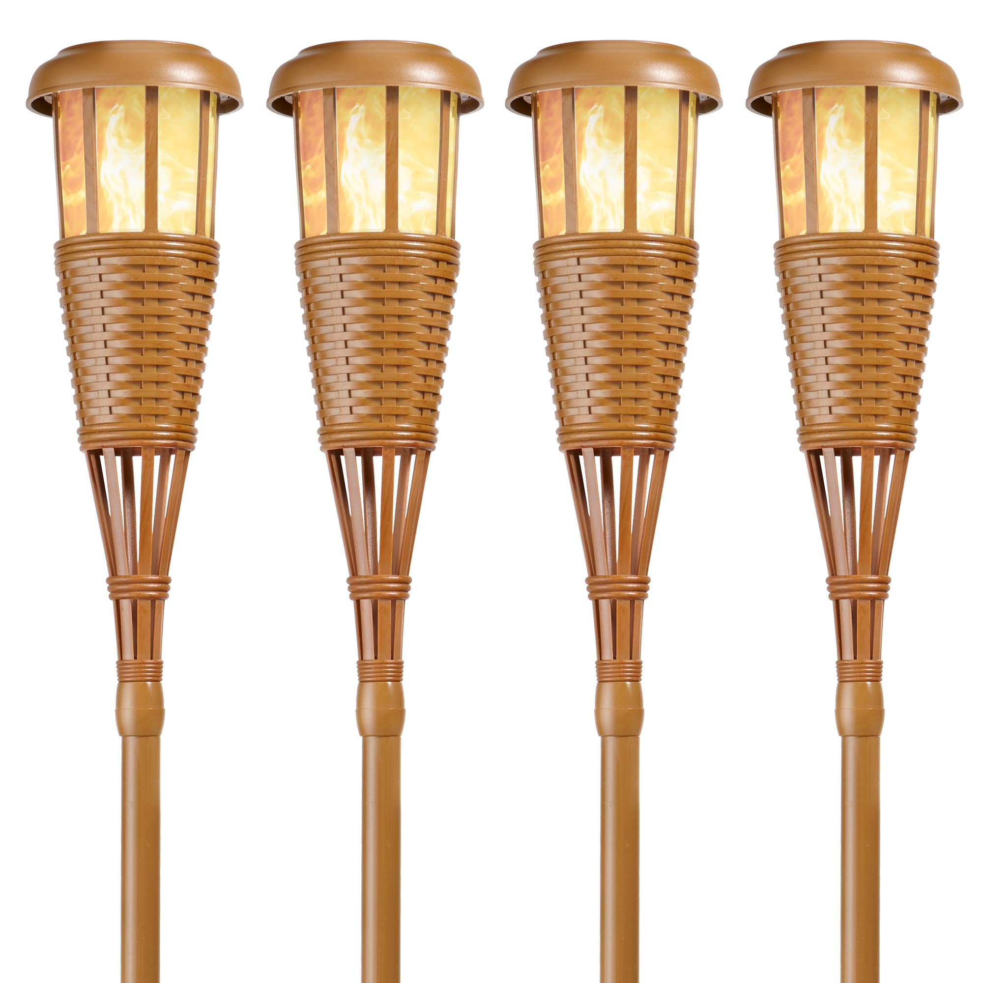 Newhouse Lighting FLTORCH4 Solar-Powered Flickering Flame Outdoor Island Torches, 4-Pack, Bamboo by Newhouse Lighting