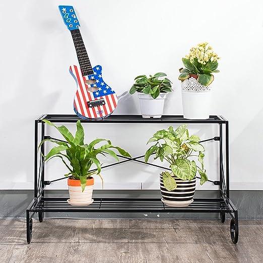 ZHDC® Armarios de flores, Plancha Segundo piso Estilo de piso sala de estar escalera de balcón cubierta Estantería de flores Espacio fuerte y estable (Color : Negro , Tamaño : 72*44*41cm) : Amazon.es: Hogar