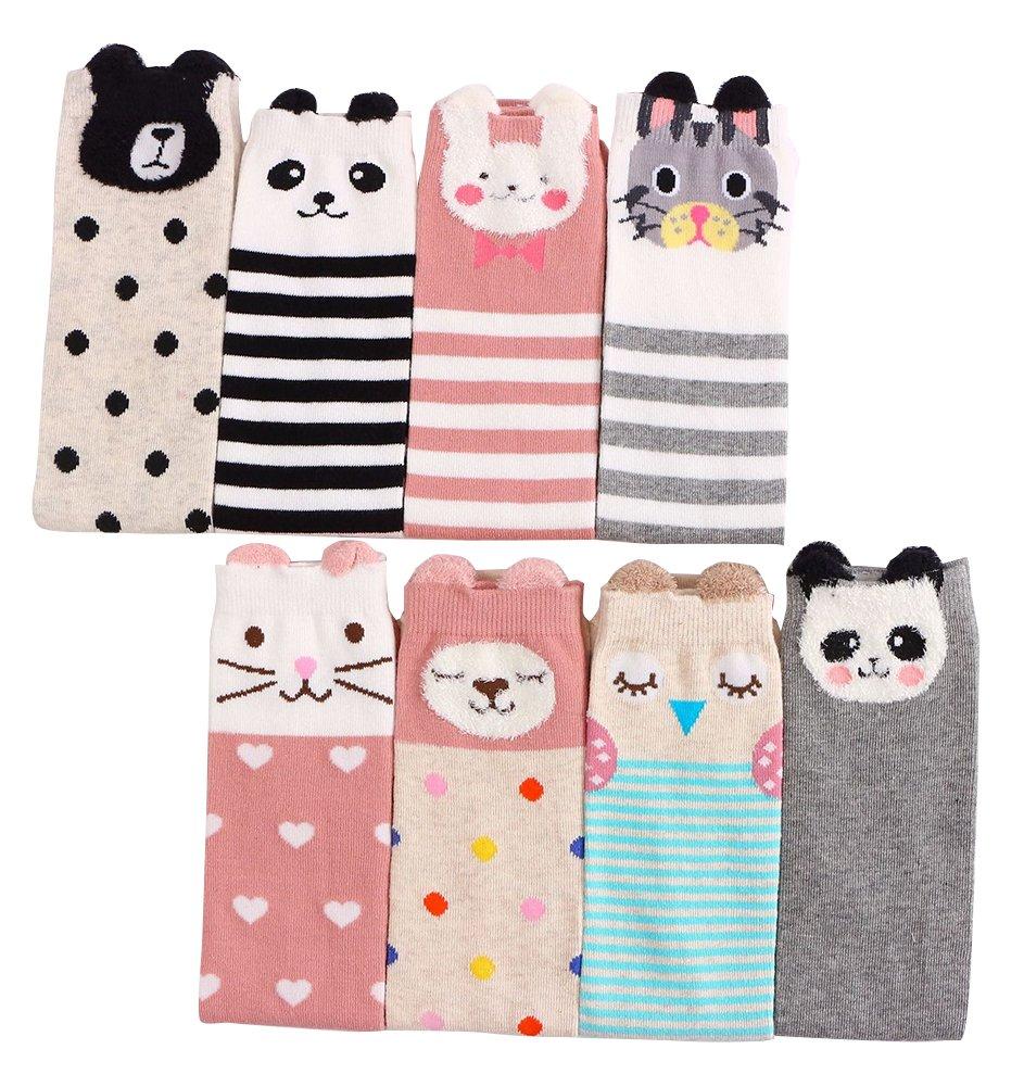 Laurelor 8 Pair Kid Girl Knee High Socks Cartoon Animal Warm Cotton Stockings Leggings