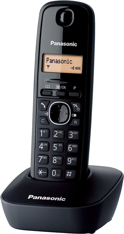 Panasonic KX-TG1611 - Teléfono (DECT, Terminal inalámbrico, 50 entradas, Identificador de Llamadas) Color Negro [Versión Importada]