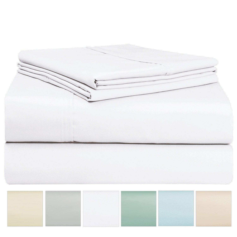 Pizuna 400 Thread Count Sheet Set, 100% Long Staple Cotton White Queen Sheets, Sateen Weave Bed Sheets fit Upto 17 inch Deep Pockets, 4Pc Set Linens (White Queen 100% Cotton Sheet Set)