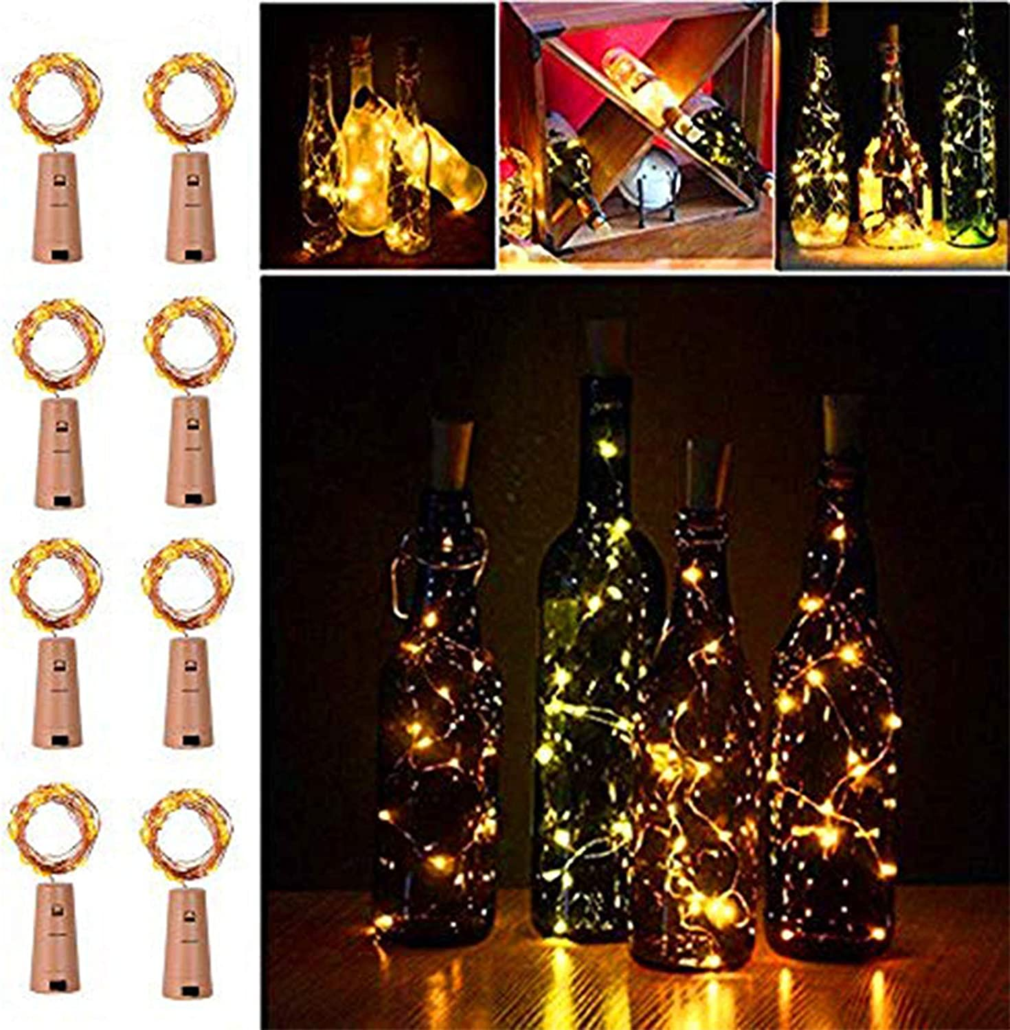 6 Pack 20 LED Wine Bottle Light Copper Cork Wire String Fairy Light Waterproof